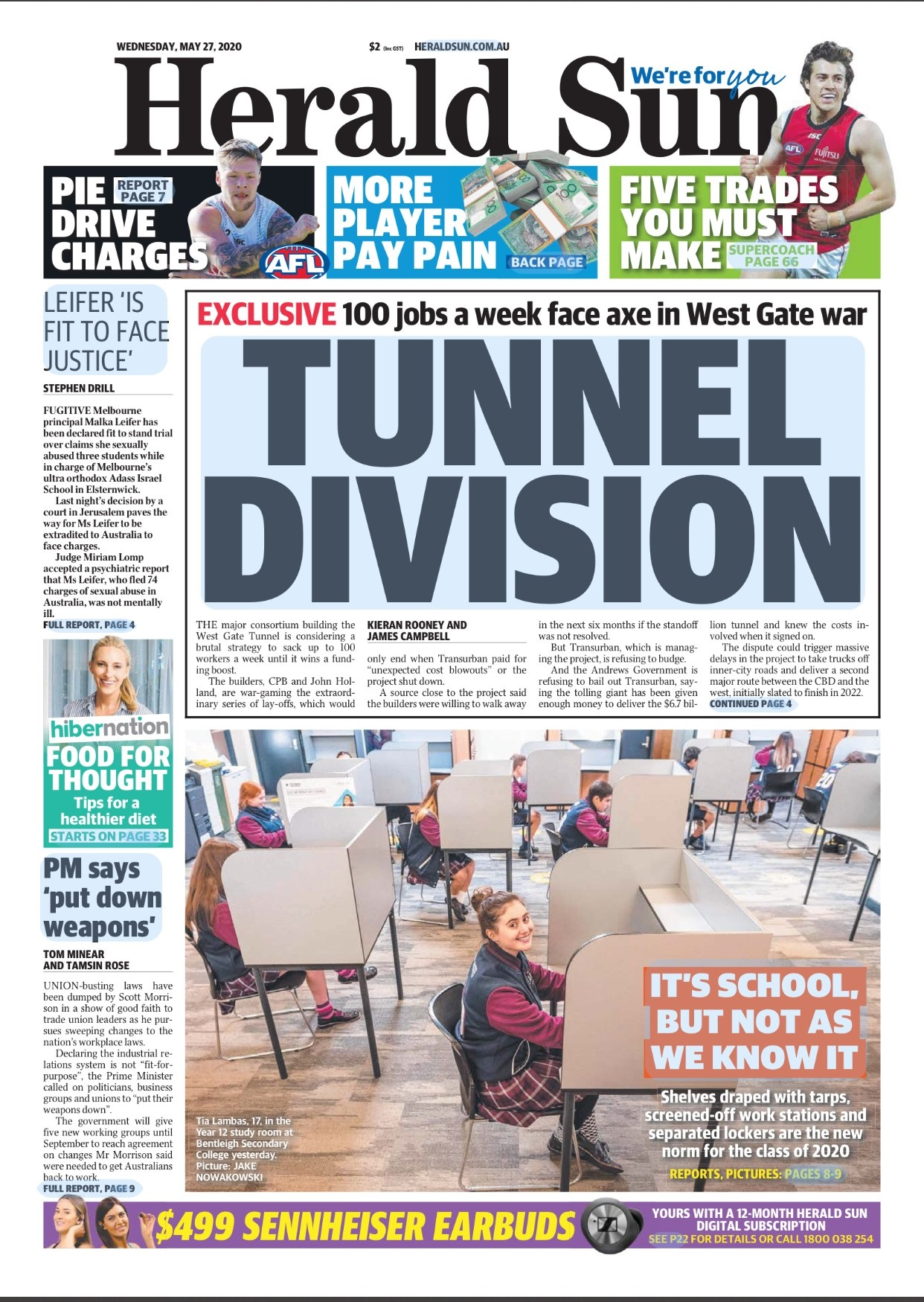 Herald Sun front cover