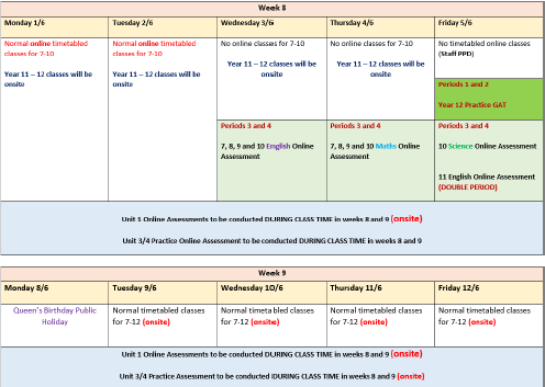Online Assessment Schedule